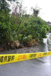 大雨の影響で土砂が崩れ、木や看板がなぎ倒され、通行止めになっている私道=10日午前8時半ごろ、沖縄市大里