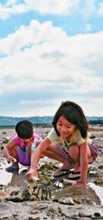 心地よい海風を受けて、潮干狩りを楽しむ子どもたち=18日、沖縄市・泡瀬干潟(落合綾子撮影)