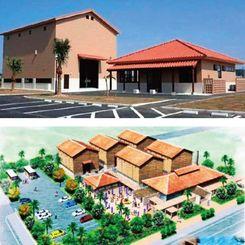 (上)2013年に完成した「古酒の郷」の貯蔵施設1棟と管理棟=うるま市勝連南風原(下)当初計画段階の古酒の郷完成イメージ図