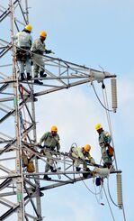 防災訓練で電線の復旧作業にとりかかる沖電社員=18日、浦添市牧港・沖縄電力本店
