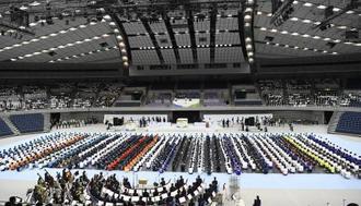 三重、岐阜、静岡、愛知の東海4県を中心に開かれた、昨年の全国高校総体の総合開会式=2018年8月、三重県伊勢市