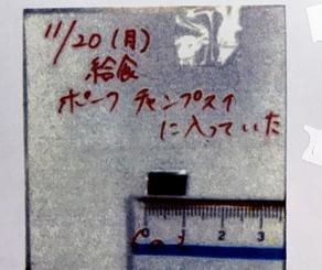 給食に混入した刃の一部(沖縄市教育委員会提供)