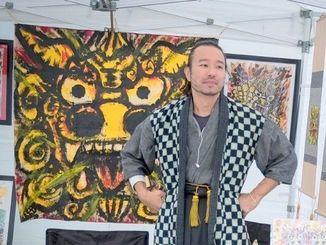 トロントの野外美術展に参加したシーサー・アーティスト宮城光男さん=カナダ・トリニティー・ベルウッズ公園