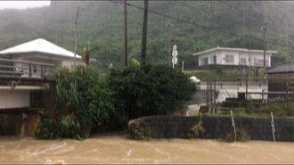 50年に一度の記録的な大雨が降った与那国島で、道路などが冠水した=2019年5月13日