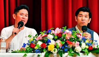 ストレスも楽しむ術を語るガレッジセ-ルの川田さん(左)とゴリさん=日、ロワジ-ルホテル&スパタワ-那覇