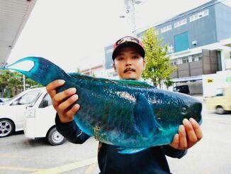 那覇一文字で60・2センチ、3・12キロのゲンナーイラブチャーを釣った運天雄二さん=10月31日