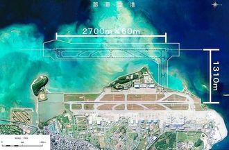 那覇空港の現在の滑走路から沖合1310メートル地点に増設が予定されている第2滑走路案(沖縄総合事務局提供)