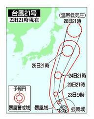 台風21号の5日先予想進路(22日21時現在)