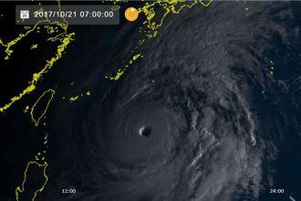 21日午前7時現在の台風21号(気象衛星ひまわり8号リアルタイムwebから)