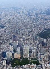 東京都心。手前中央は都庁