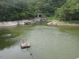 満水時は見えない岩肌が、貯水率の減少で露出している座間味ダム=31日、座間味村(村提供)