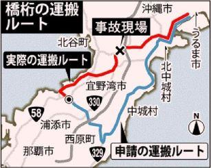 橋桁運搬 申請のルートと実際のルート