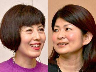 ひきこもりや生きづらさについて対談する小島慶子さん(左)と白井智子さん