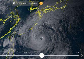 21日午後3時50分現在の台風21号の画像(気象衛星ひまわり8号リアルタイムwebから)