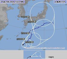 台風10号の進路予想図(気象庁HPから)