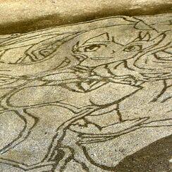大城晟来さんが地面に描いたアニメ「モンスターストライク」のキャラクター
