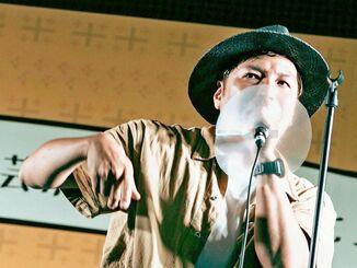 9月に川崎市であった「はいさいFESTA2020」で久しぶりのライブを行ったカミヤタスクさん(提供)