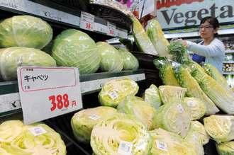 高騰する葉野菜を手に取る買い物客=4日午後、那覇市西