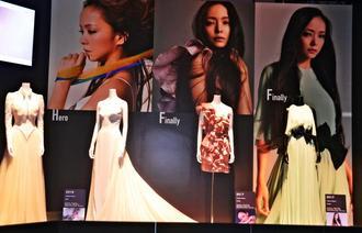 安室さんが「Hero」や「Finally」などの楽曲で着た衣装も展示されている=25日、東京都・渋谷ヒカリエ