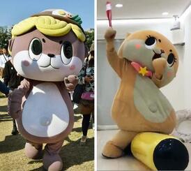 「しんじょう君」(左)と「ちぃたん☆」(右、ツイッターから)