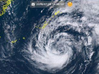 ひまわり8号リアルタイムwebがとらえた台風10号(20日、午後2時30分)