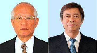 (写真左から)浦崎唯昭副知事、謝花喜一郎知事公室長