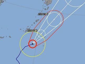 台風20号の進路予想図(気象庁HPより)
