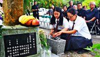 慰霊祭 北農高生が継承/県立農林学校隊最期の碑「平和の大切さ考える」
