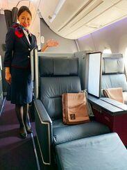 JALが那覇-羽田路線で導入するエアバス「A350-900」のファーストクラスシート=8日、那覇空港