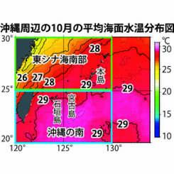 沖縄周辺の10月の平均海面水温分布図