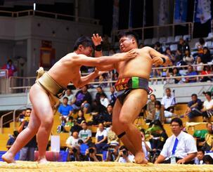 南部九州総体で、沖縄では相撲が開幕。選手は大勢の観客が見守る中、熱戦を展開した=26日、那覇市・県立武道館(古謝克公撮影)