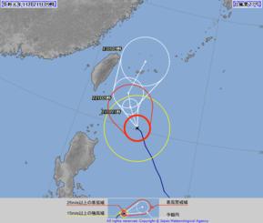 台風27号の針路予想図(気象庁HPより)