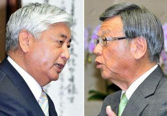 中谷元・防衛相(左)と会談する翁長雄志知事=9日午前11時すぎ、県庁