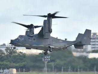 嘉手納基地に飛来したCV22。海兵隊が使用するMV22オスプレイと基本構造は同じで、地形追随装置などを装備し夜間飛行能力を強化、特殊作戦などに使われる=2018年6月