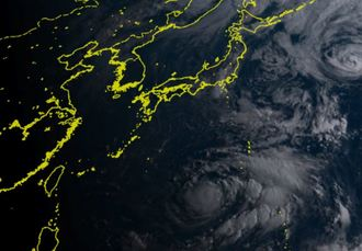 26日午前6時40分の台風12号(NICTひまわり8号リアルタイムwebから)