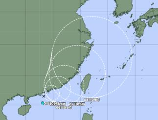 南シナ海にある熱帯低気圧=3日午前9時現在(気象庁HPから引用)