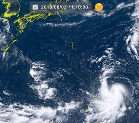 3日午前11時10分現在の台風13号(NICTひまわり8号リアルタイムwebから)