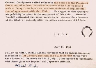 メモに色付けした部分は、アイゼンハワー大統領が陸軍戦闘兵力と海兵隊の日本本土からの早期撤退を指示した内容。同大統領図書館から山本章子氏が入手