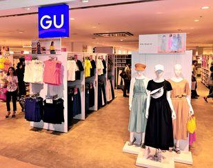 売り場面積が拡大し、新たに出店する低価格衣料ブランド「GU」の店舗=24日、北中城村・イオンモール沖縄ライカム