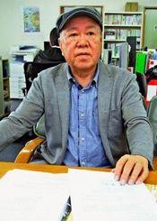 2・28事件で父を失い、台湾政府に損害賠償を求めている青山惠昭さん=12日、浦添市内