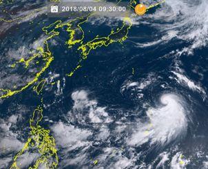 4日午前9時半現在の台風13号(ひまわり8号リアルタイムwebから)