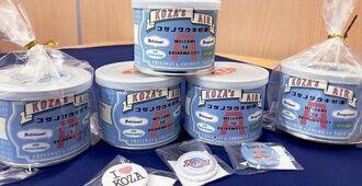 沖縄市観光物産振興協会が発売している「コザの空気感(缶)」。オリジナルの缶バッジも同封されている