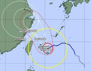 22日午後6時の台風6号の経路図(気象庁HPから)