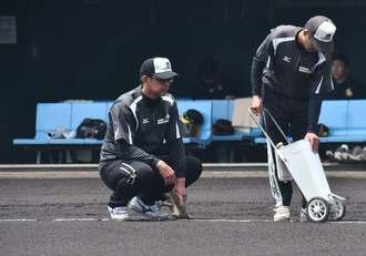 2軍の試合前にグラウンド整備する渡真利克則さん(左)=兵庫県西宮市・阪神鳴尾浜球場