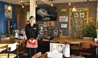 「幅広い世代のお客さんに楽しんでいただきたい」と話す橋本菜々子さん=1月30日、本部町浜元の「お食事処 iNUBi(いぬび)」