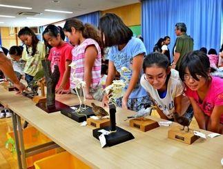 剥製や標本を興味深げに見る子どもたち=15日、中城南小学校