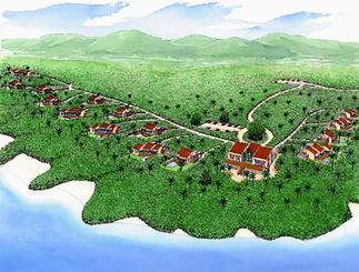 会員制高級リゾートホテル「コーラルテラス石垣島」の完成予想図(最大15棟まで増設時のイメージ)=ロングライフリゾート提供