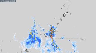 8日午後6時45分現在の雨雲の様子(気象庁HPから引用)