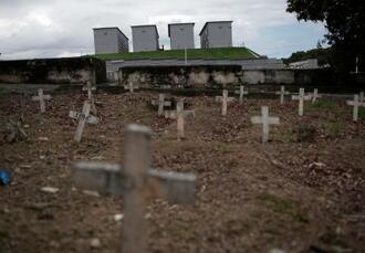 新型コロナウイルス感染症の犠牲者が眠る墓地=24日、ブラジル・リオデジャネイロ(AP=共同)