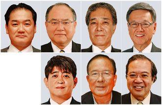 (写真上段右から)翁長雄志氏、高良倉吉氏、翁長政俊氏、佐喜真淳氏、(下段右から)玉城信光氏、我喜屋優氏、安里繁信氏